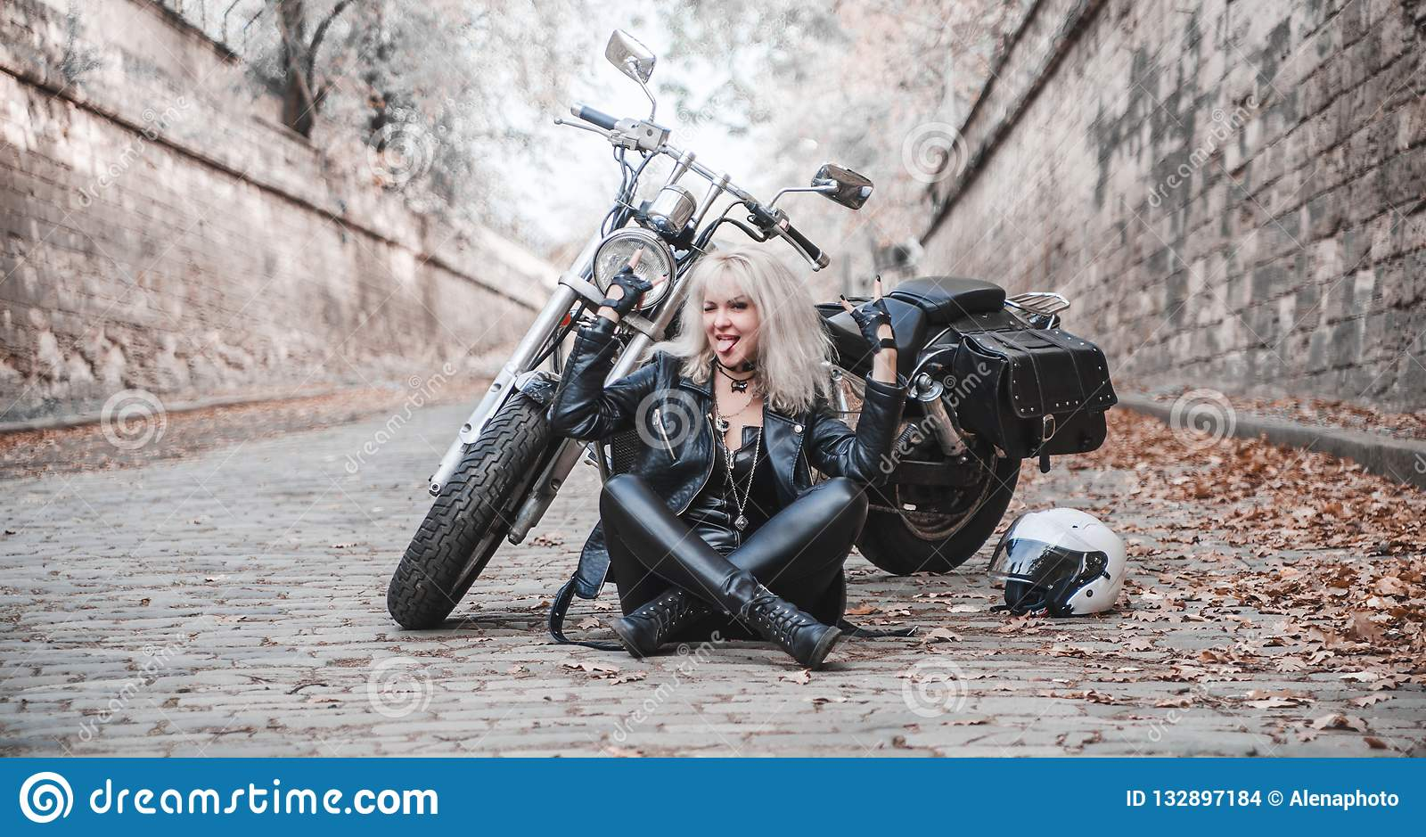 3a8253e6b Beautiful Biker Woman Outdoor With Motorcycle. Stock Photo - Image ...
