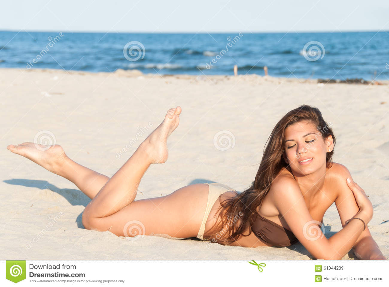 Beautiful Bikini Model Posing On The Beach Stock Image ...