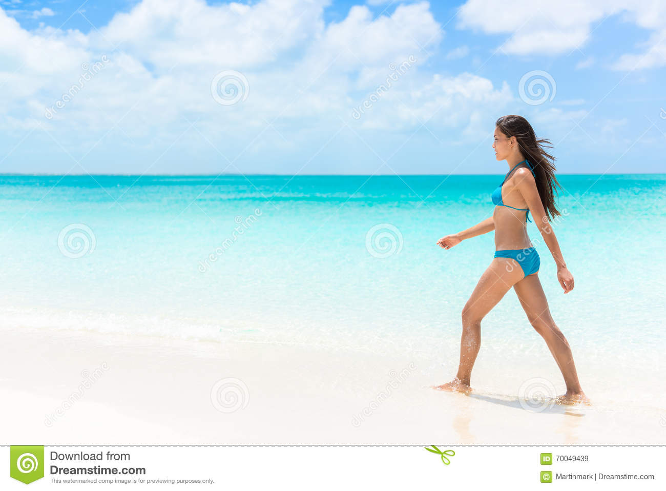 Woman walking on a beach royalty - Royalty Free Stock Photo Download Beautiful Bikini Woman Walking