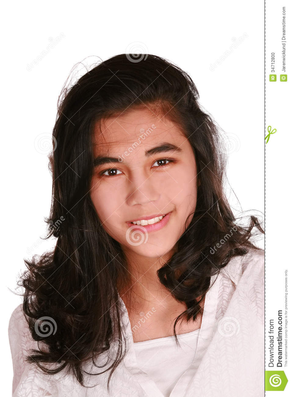 Beautiful Biracial Teen Girl Smiling, Isolated Stock Photo - Image ...