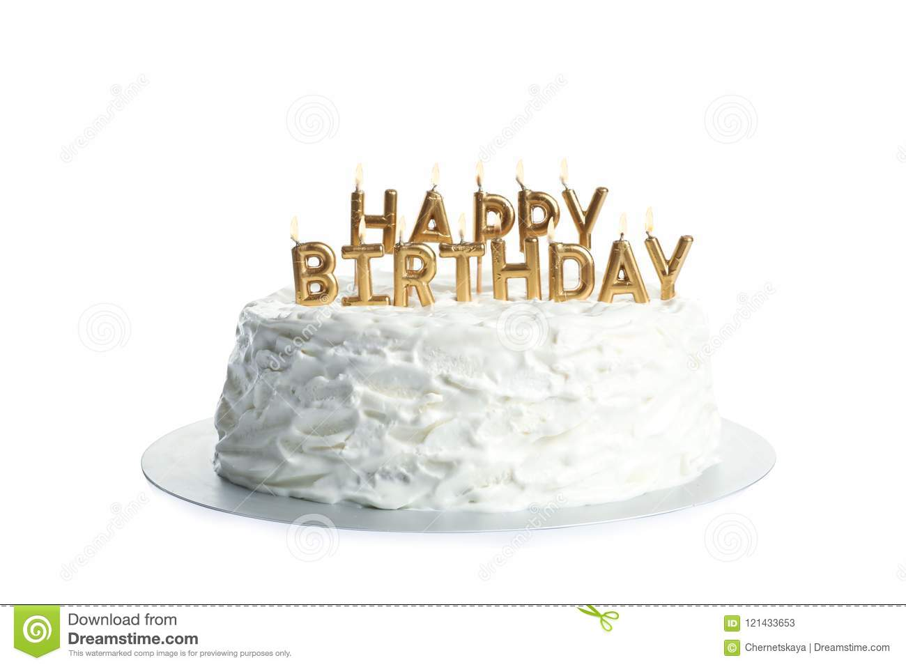 Beautiful Birthday Cake With Candles Stock Image Image Of Icing