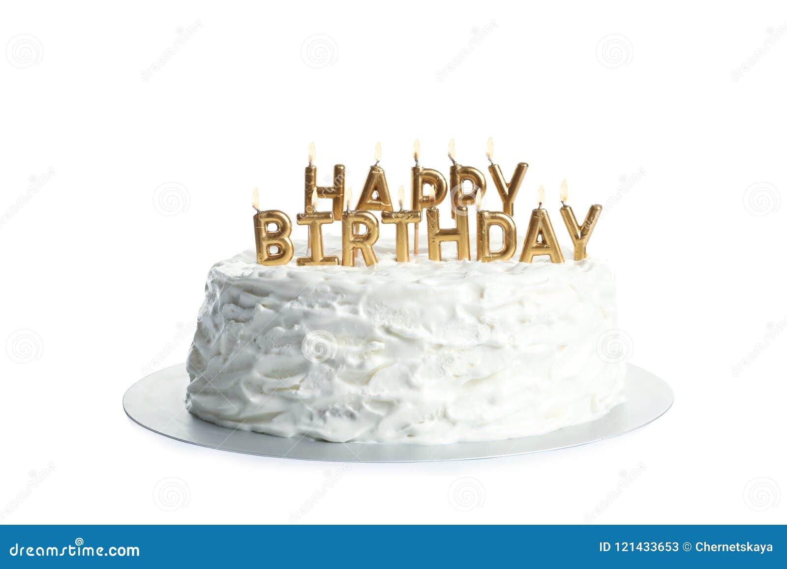 Brilliant Beautiful Birthday Cake With Candles Stock Image Image Of Personalised Birthday Cards Beptaeletsinfo