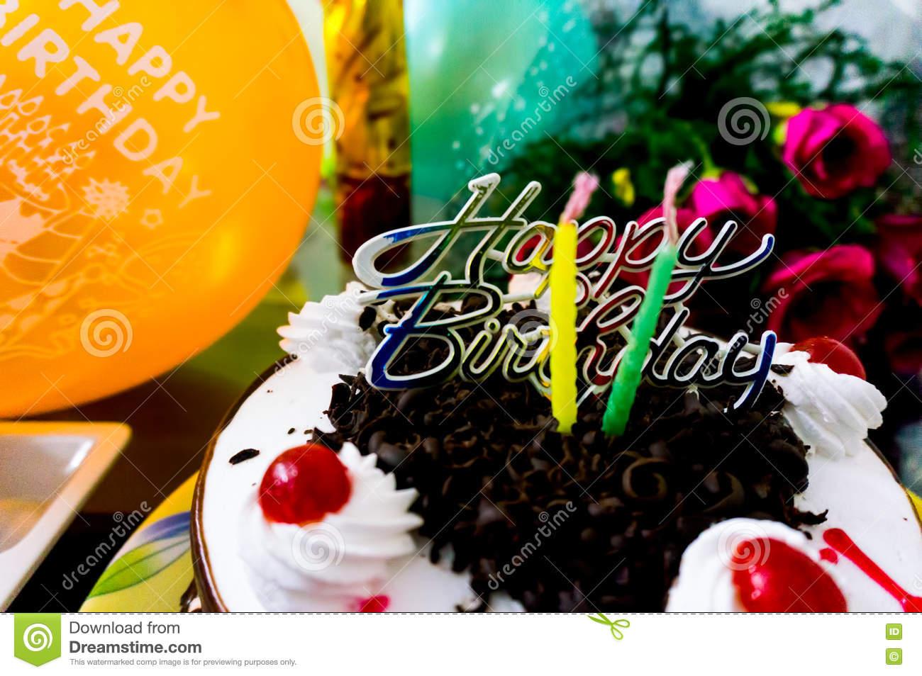 Beautiful birthday cake with flowers and baloons stock image image beautiful birthday cake with flowers and baloons izmirmasajfo