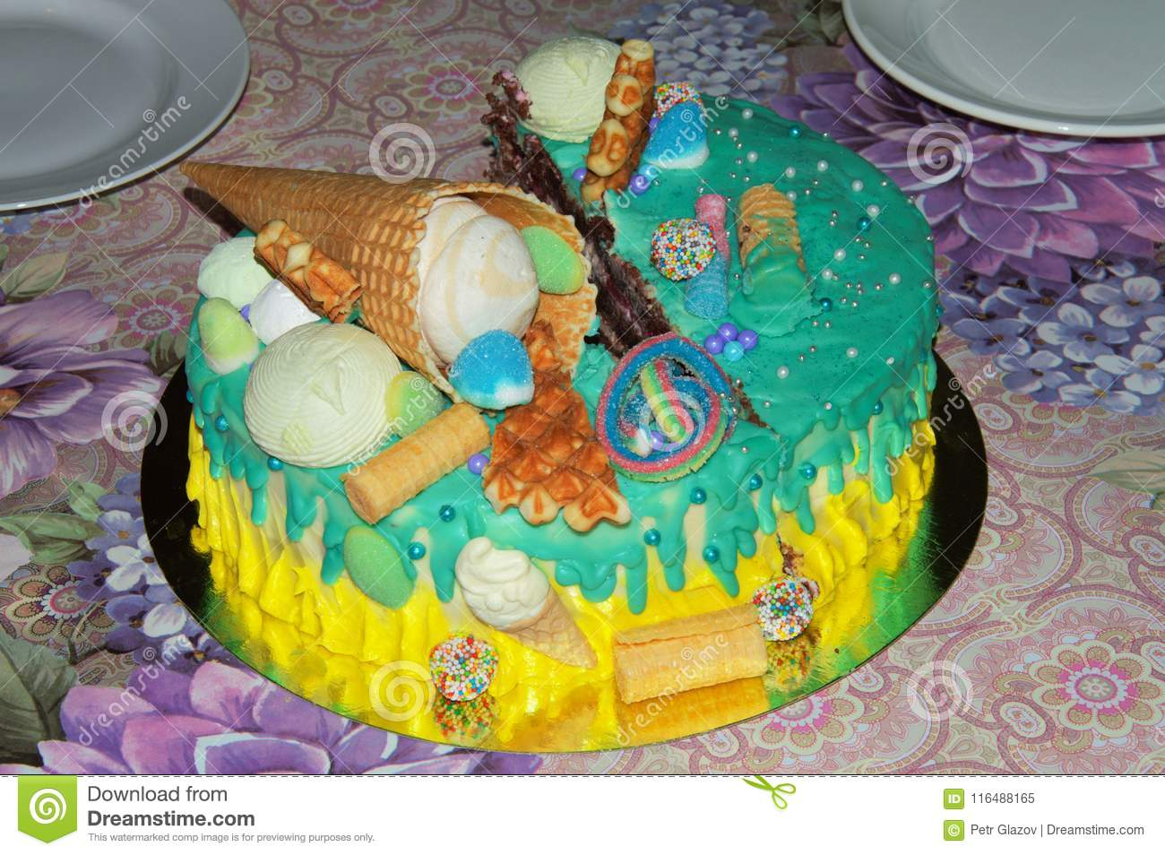 Beautiful Birthday Cake In Icing With Fillings Of Fruit Marshmallows Waffles And
