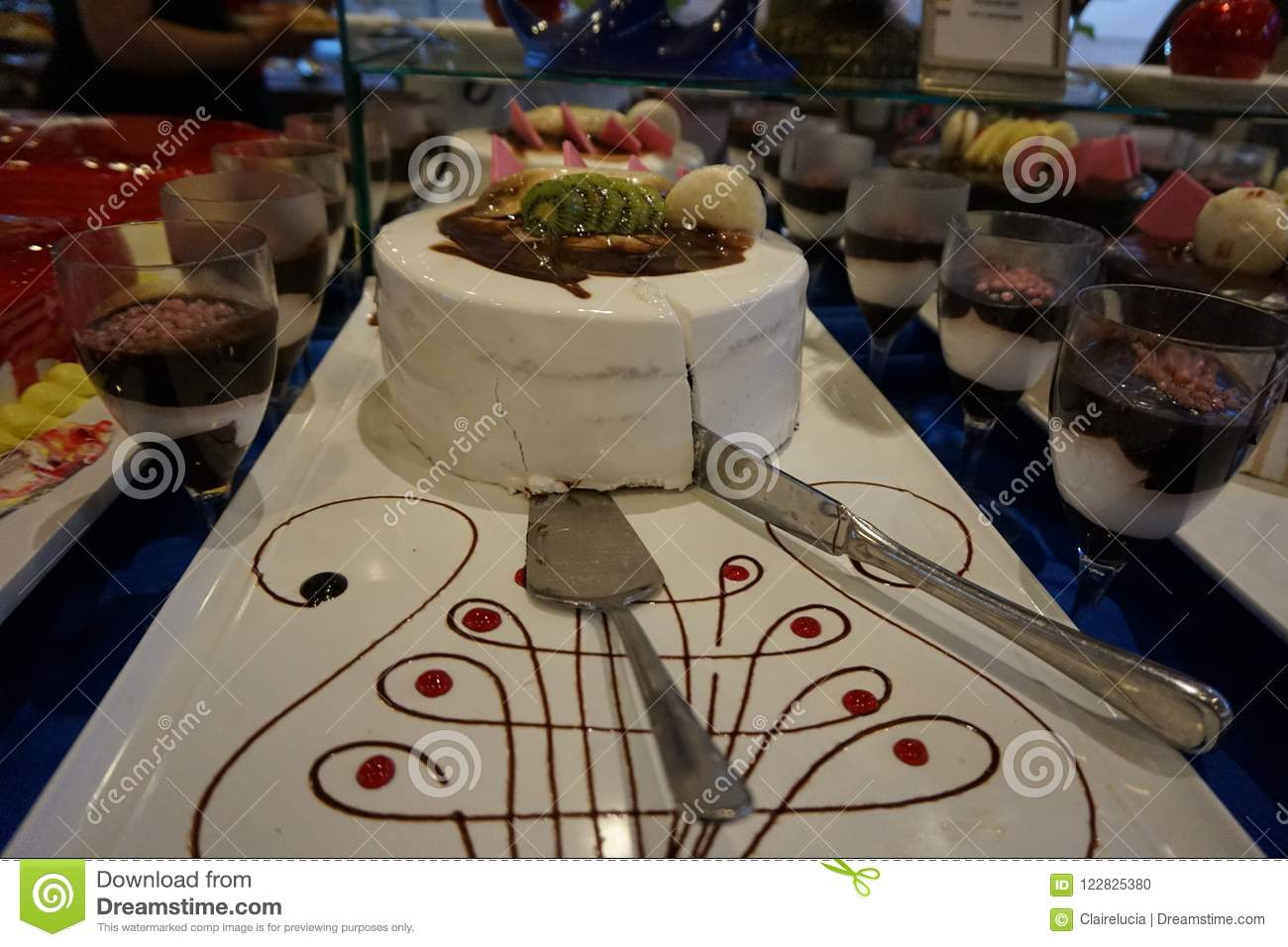 Beautiful Birthday Cake With A Knife In The Restaurant At The