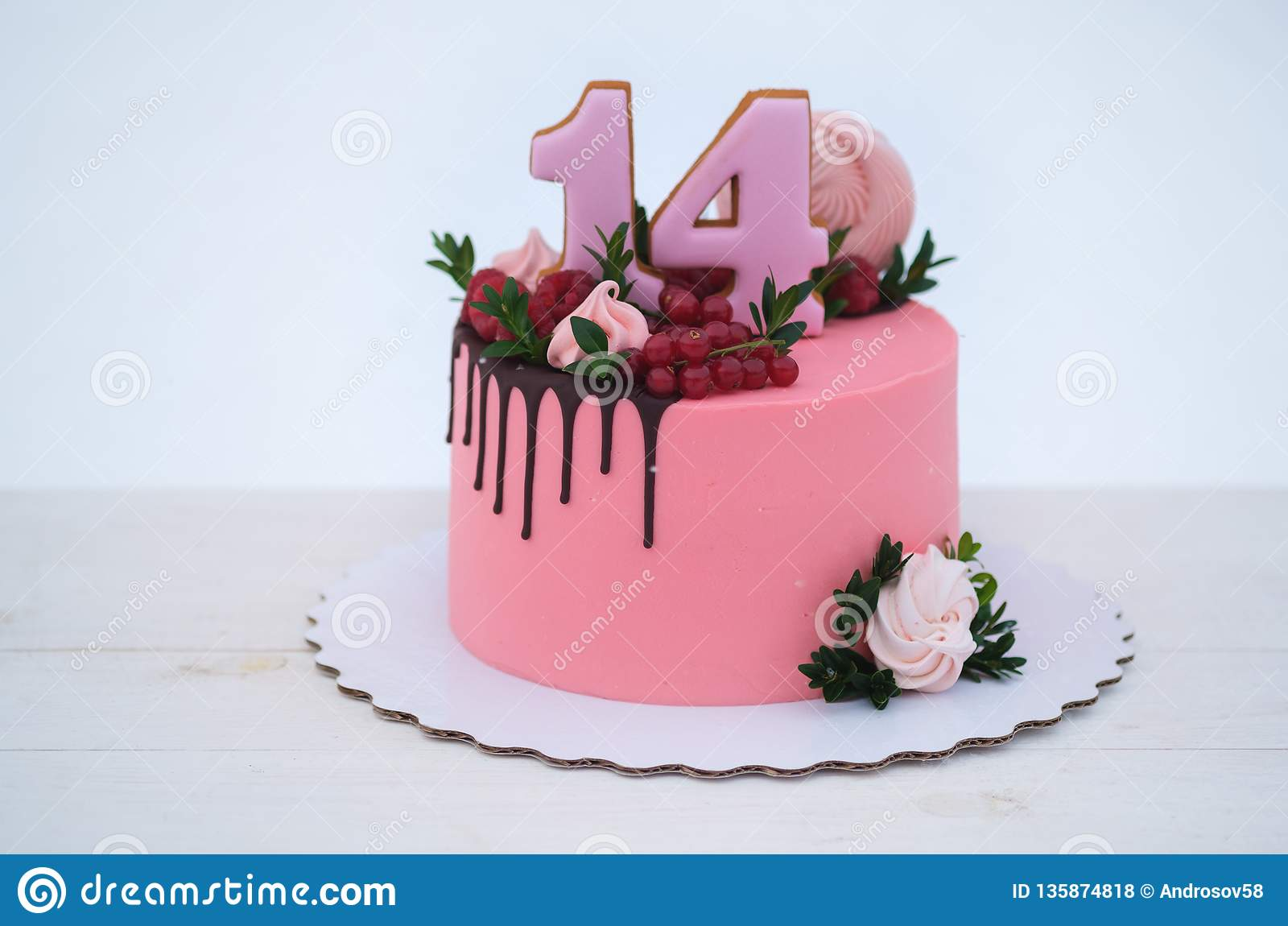 Beautiful Birthday Cake Girl With The Number Fourteen On A White Background