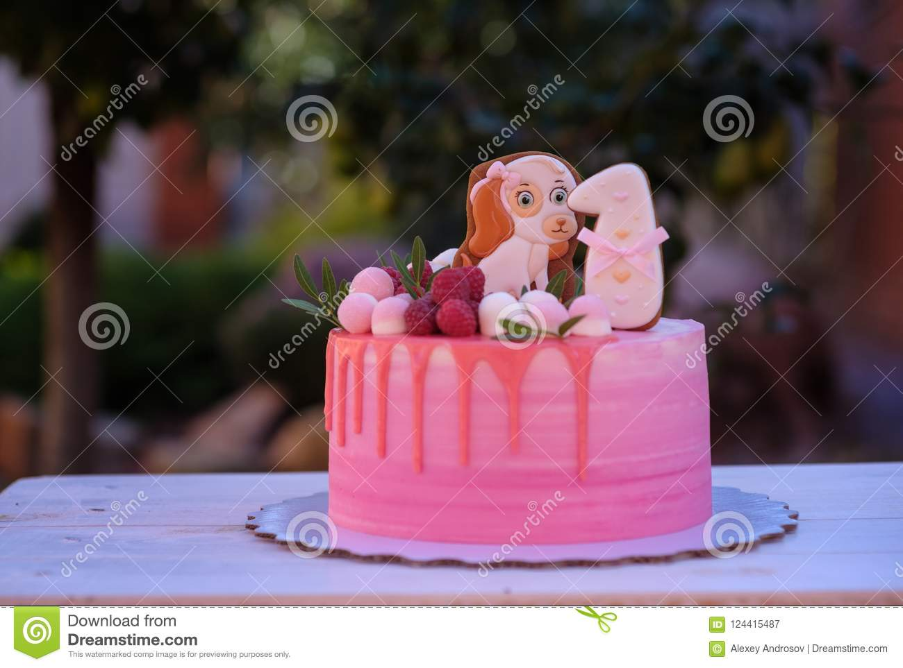 Beautiful Birthday Cake With Number One And A Doggy Stock Image