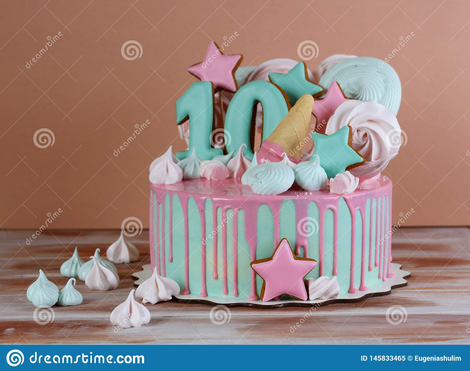 Incredible Beautiful Birthday Cake With The Number 10 Stock Image Image Of Personalised Birthday Cards Akebfashionlily Jamesorg