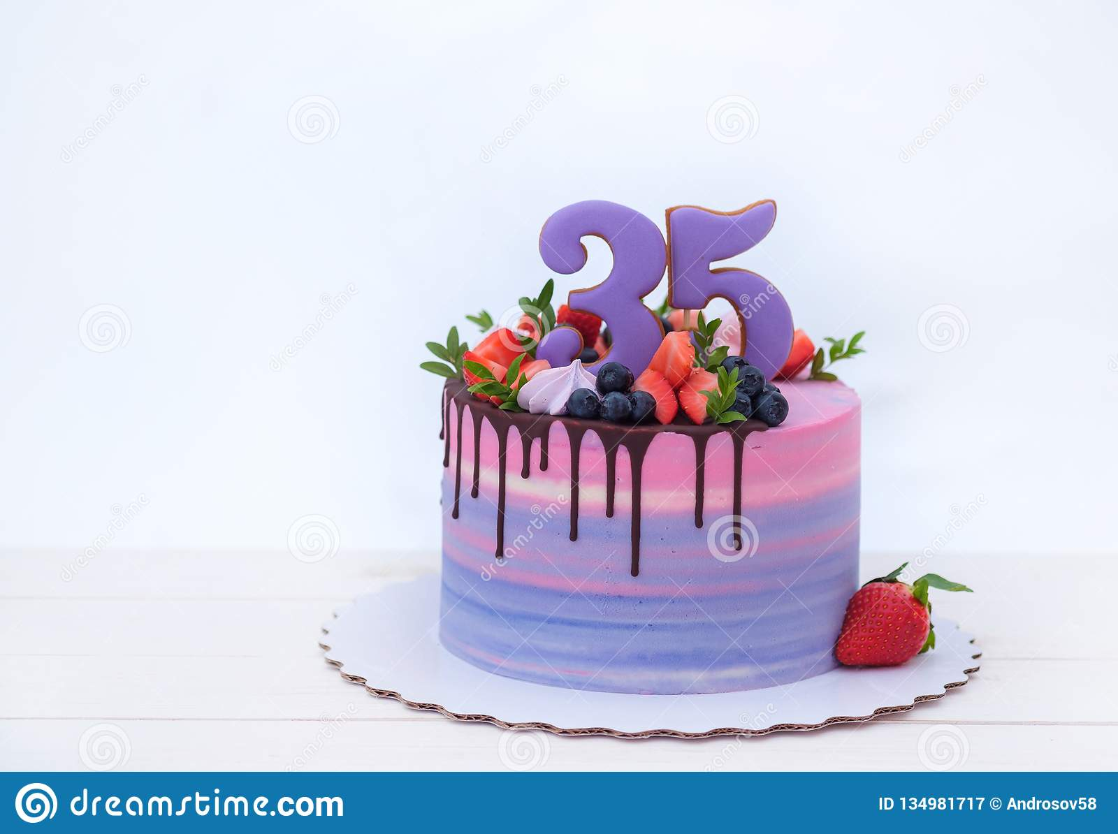 Fabulous Beautiful Birthday Cake With The Number Thirty Five Stock Image Birthday Cards Printable Opercafe Filternl