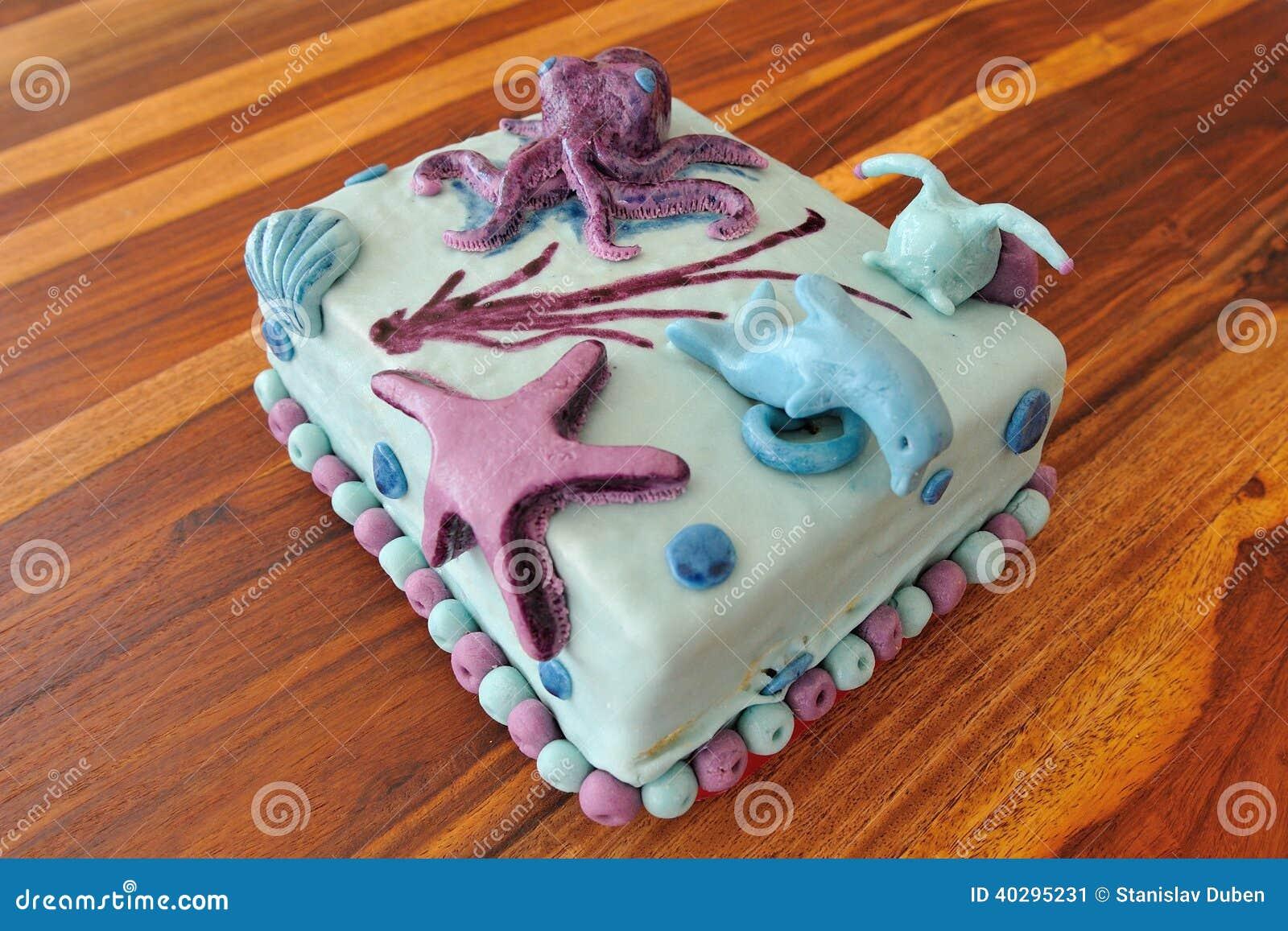 Beautiful Birthday Cake In Submarine Decoration Stock Image Image