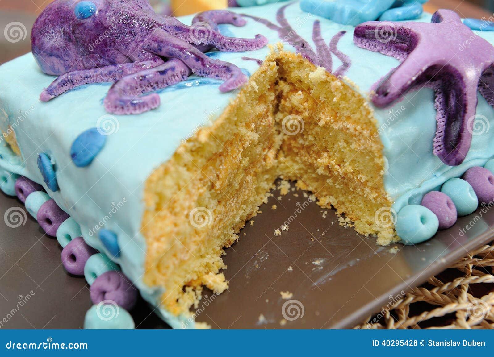 Beautiful Birthday Cake In Submarine Decoration Stock Photo Image