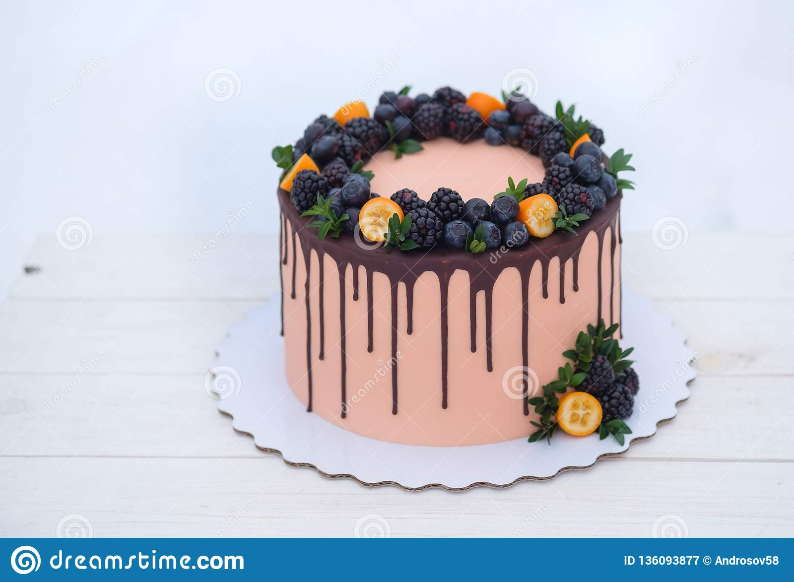 Beautiful Birthday Cake In Winter Style With Fir Branches And Natural Berries