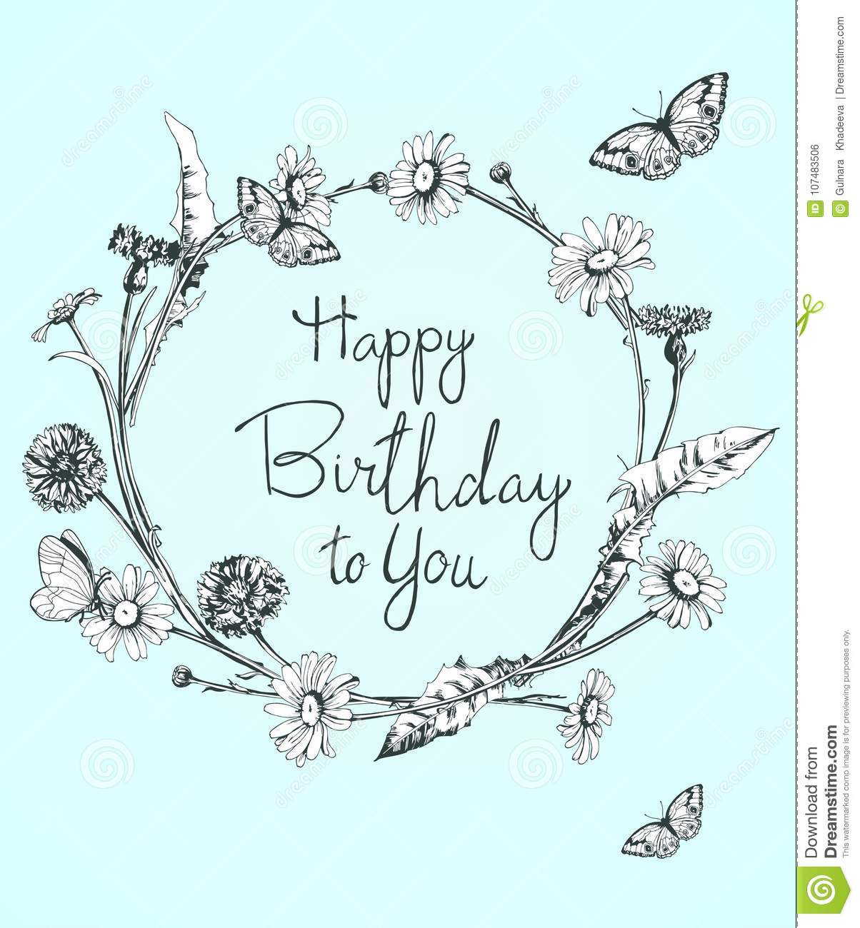 Beautiful Birthday Card With Floral Wreath Bright Illustration Can Be Used As Creating