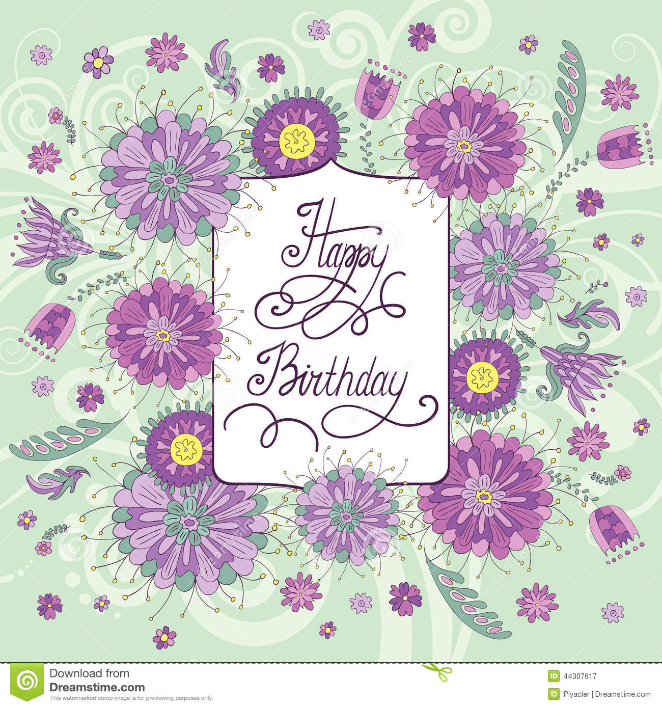 Beautiful Birthday Card With Flowers Vector Image 44307617 – A Beautiful Birthday Card