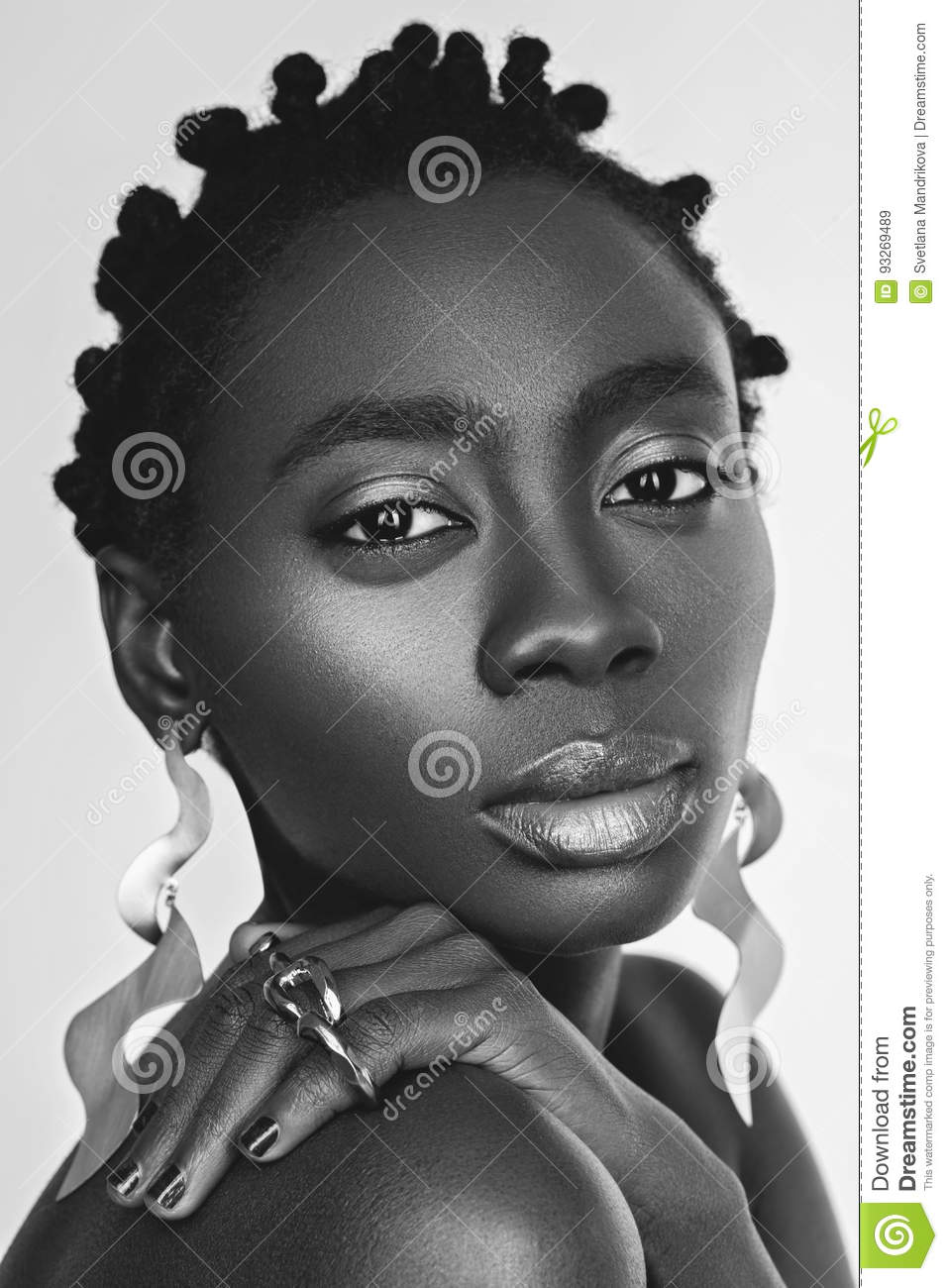 Beautiful Black Girl With Big Earrings Stock Image Image