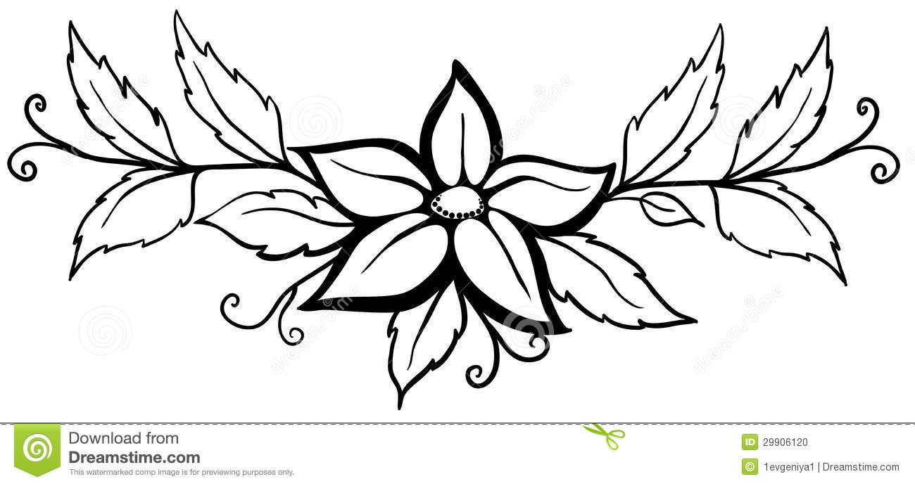 black and white abstract flower with leaves and flourishes isolated on white vector illustration