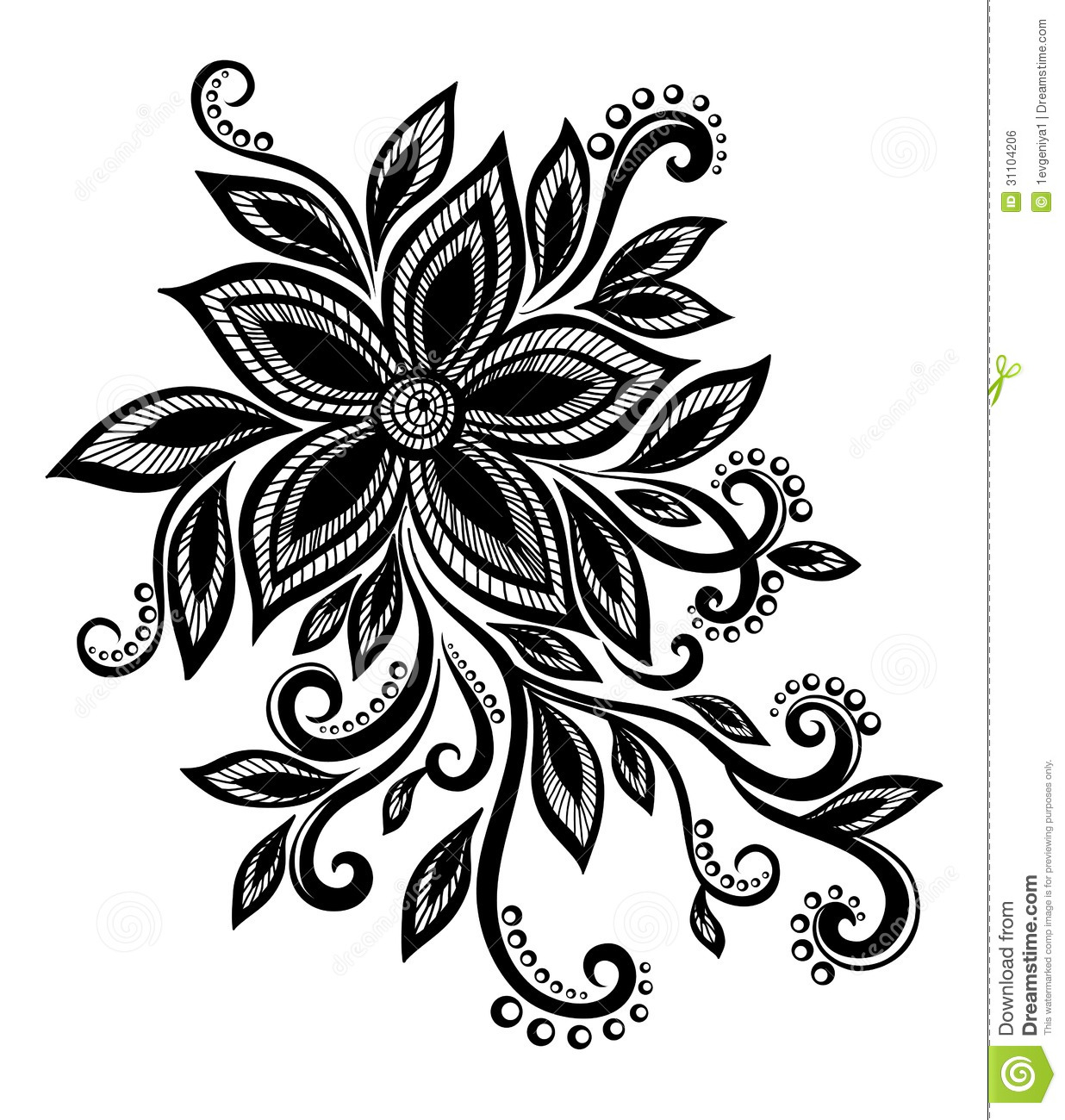 Beautiful Black And White Flower With Imitation Lace Eyelets