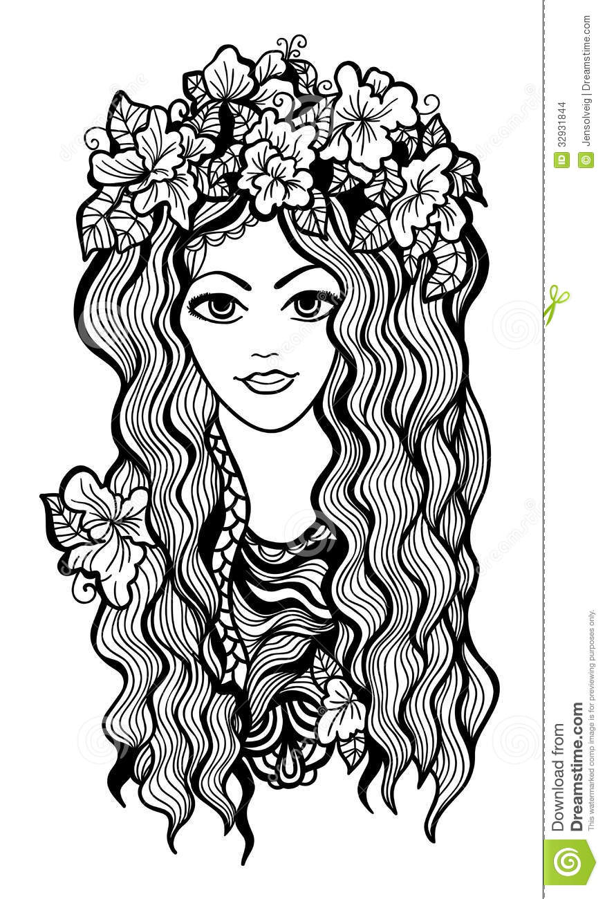 Beautiful black and white girl with flower crown stock vector beautiful black and white girl with flower crown drawing vector illustration mightylinksfo