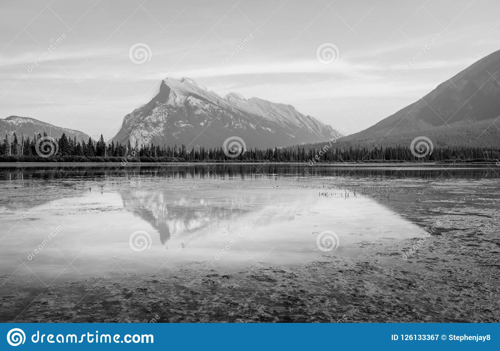Beautiful black and white landscape photo of vermillion lakes in banff b c canada