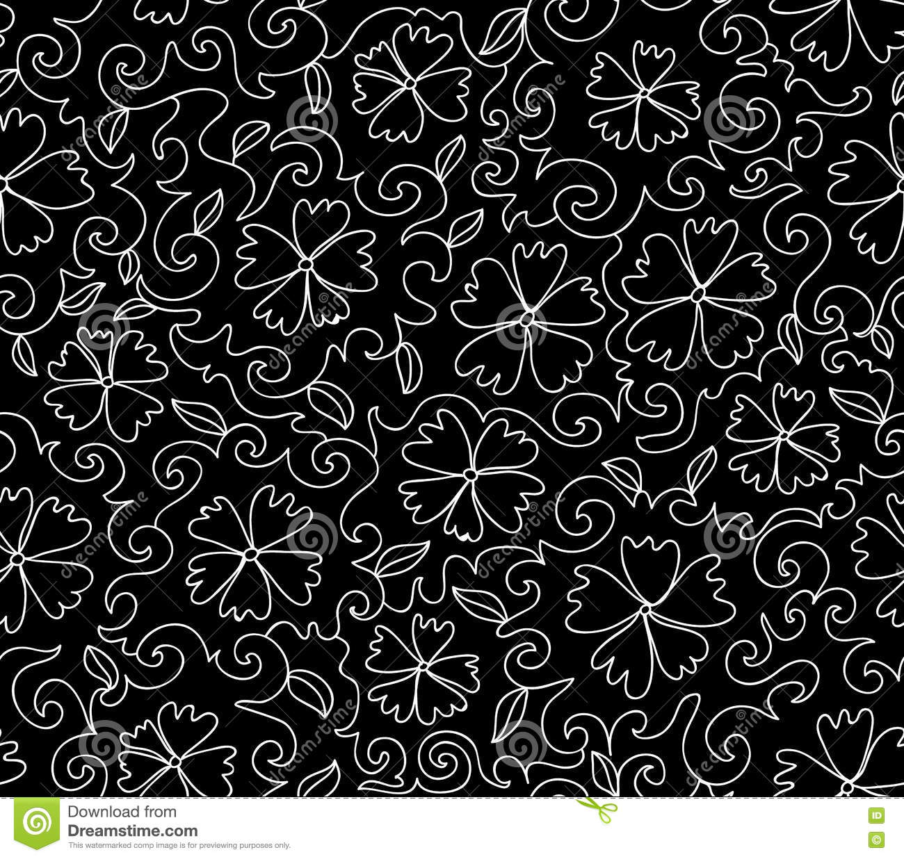 Beautiful black and white vector seamless pattern with figured cornflowers