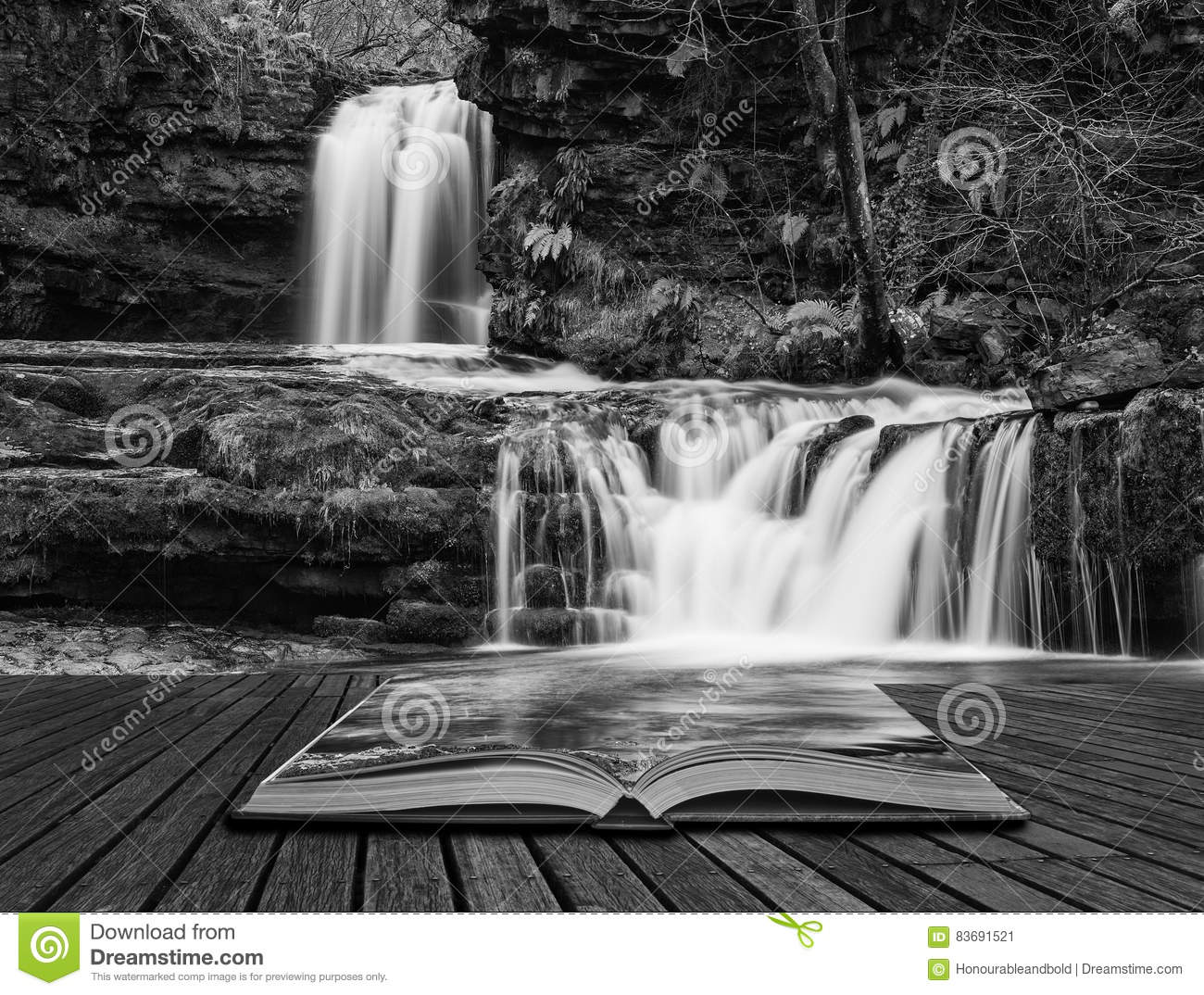 Beautiful black and white waterfall landscape image in forest du