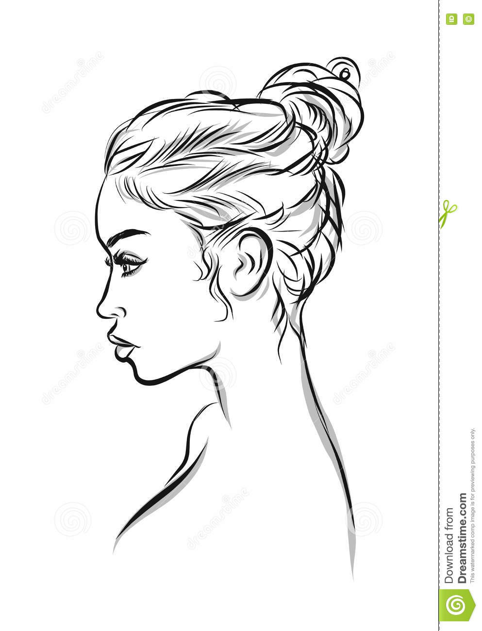 Line Drawing Woman : Beautiful black woman line art illustration stock vector