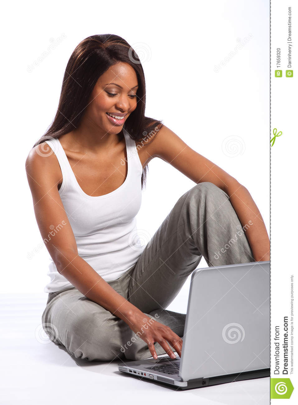 Beautiful black woman using laptop big smile stock photo for Big beautiful women picture