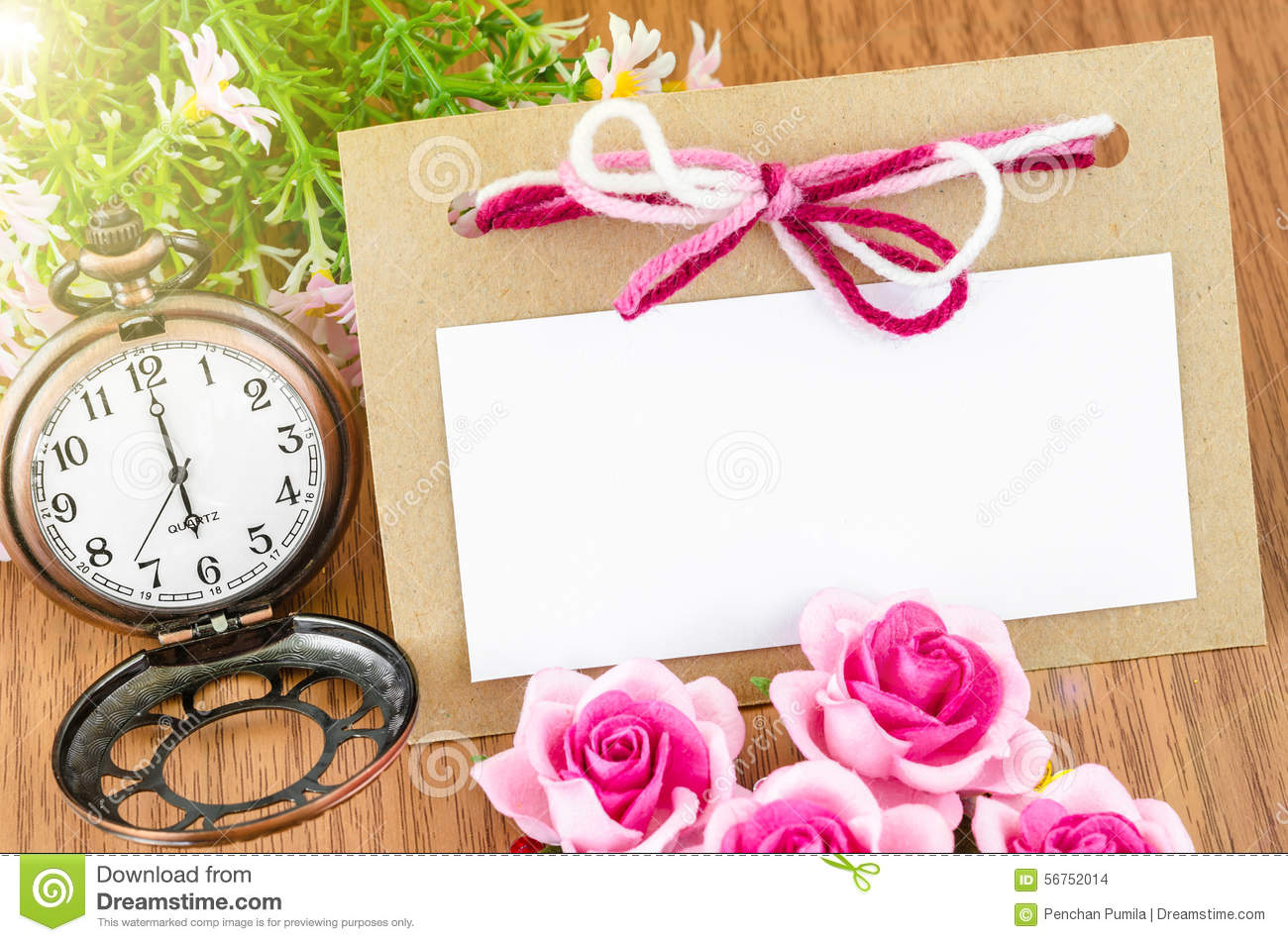 Beautiful blank paper tag and pocket watch with pink rose stock beautiful blank paper tag and pocket watch with pink rose jeuxipadfo Image collections