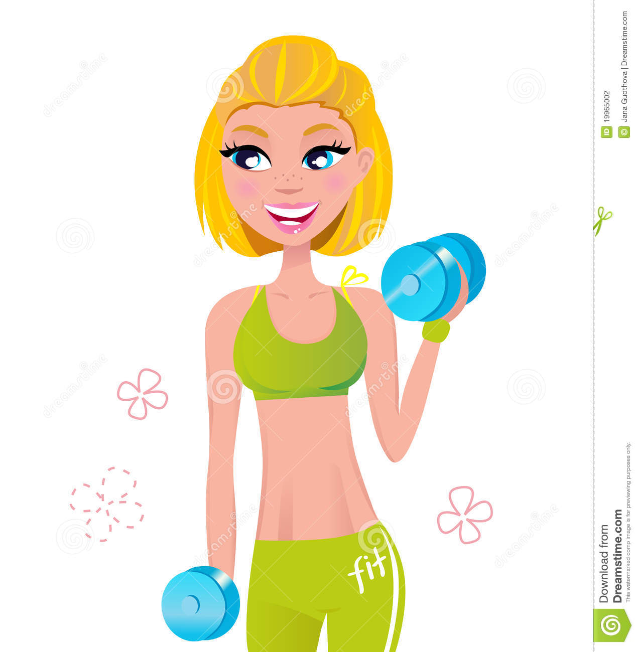 Beautiful Blond Hair Woman Exercising With Weights Stock Photography ...