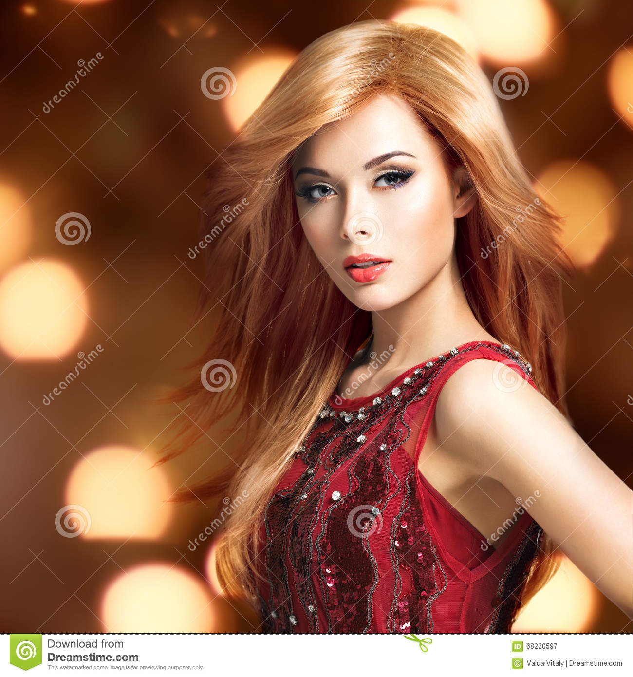 Beautiful blond woman with long hairstyle