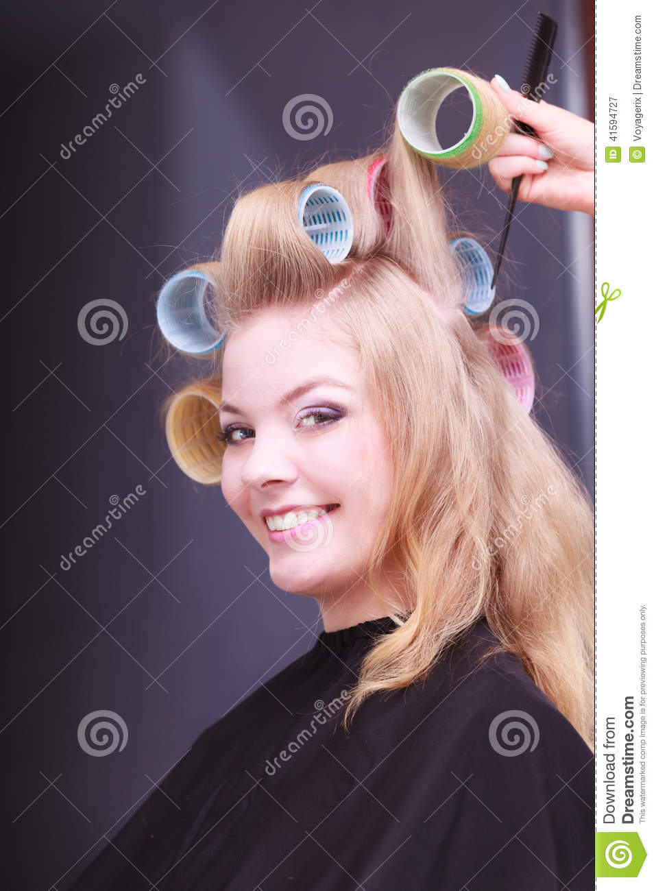 Beautiful Blond Smiling Girl Hair Curlers Rollers