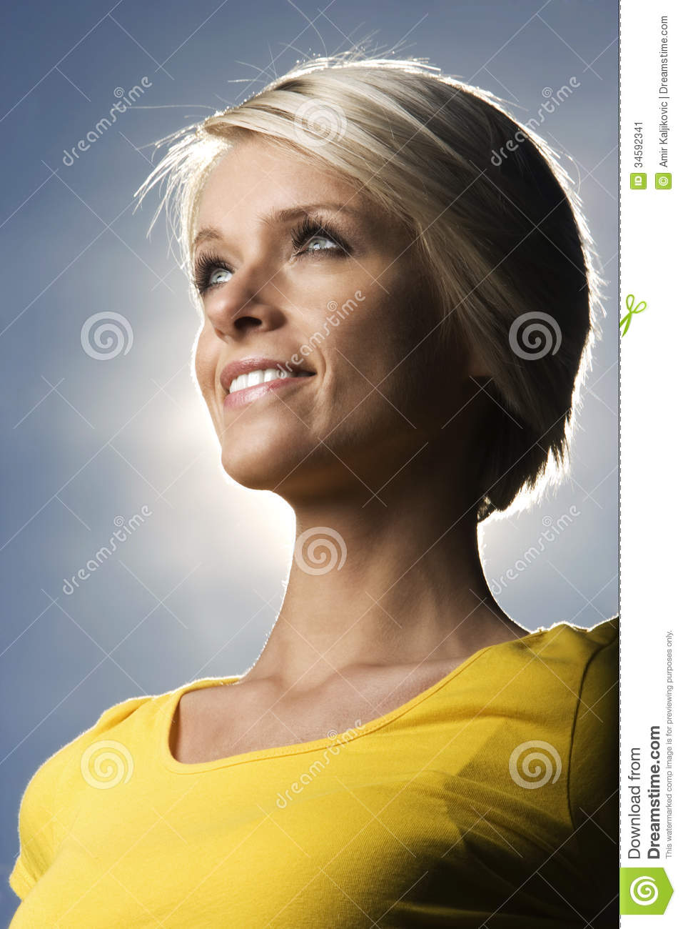 beautiful blond woman backlit sun stock image image