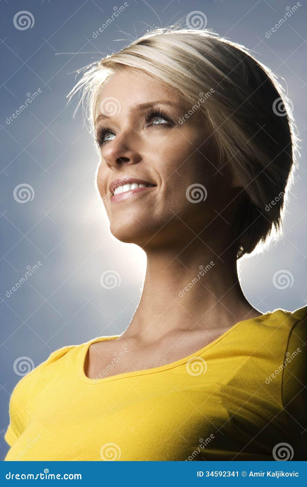 beautiful blond woman backlit sun stock image image