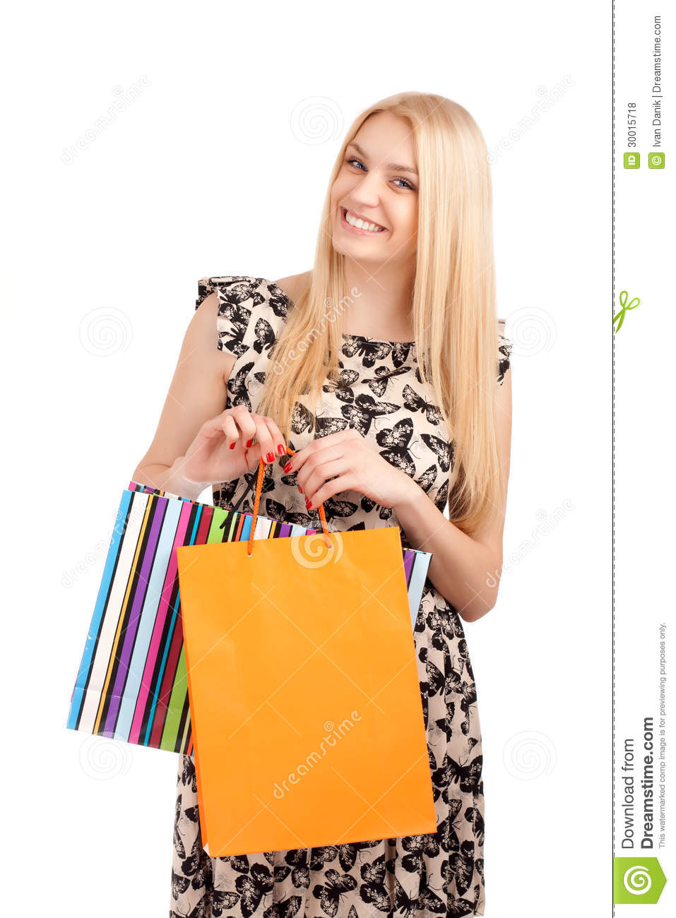 Beautiful Blond Woman Holding Shopping Bags Royalty-Free ...
