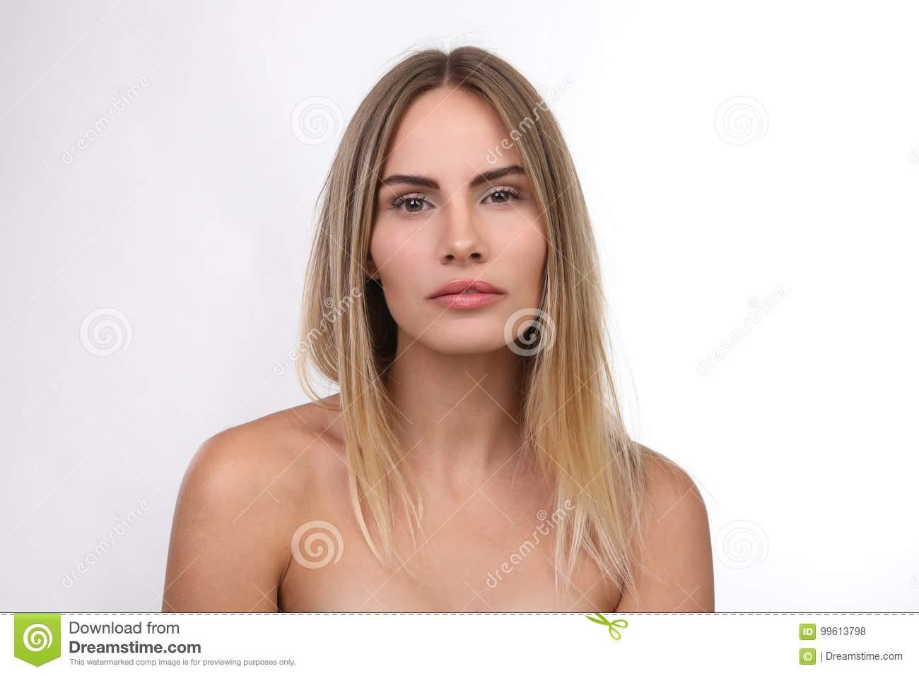 Studio Portrait Of Beautiful Naked Blond Young Woman