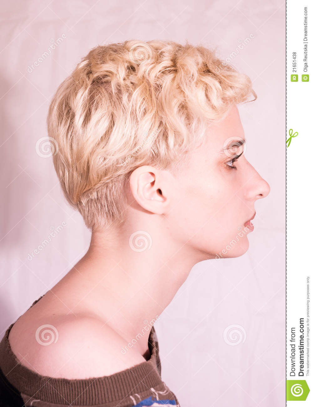Beautiful blond woman profile