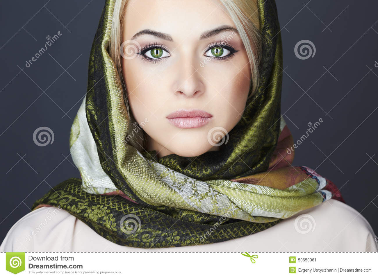 Beautiful Blond Woman In Scarf.winter Fashion.Beauty Girl