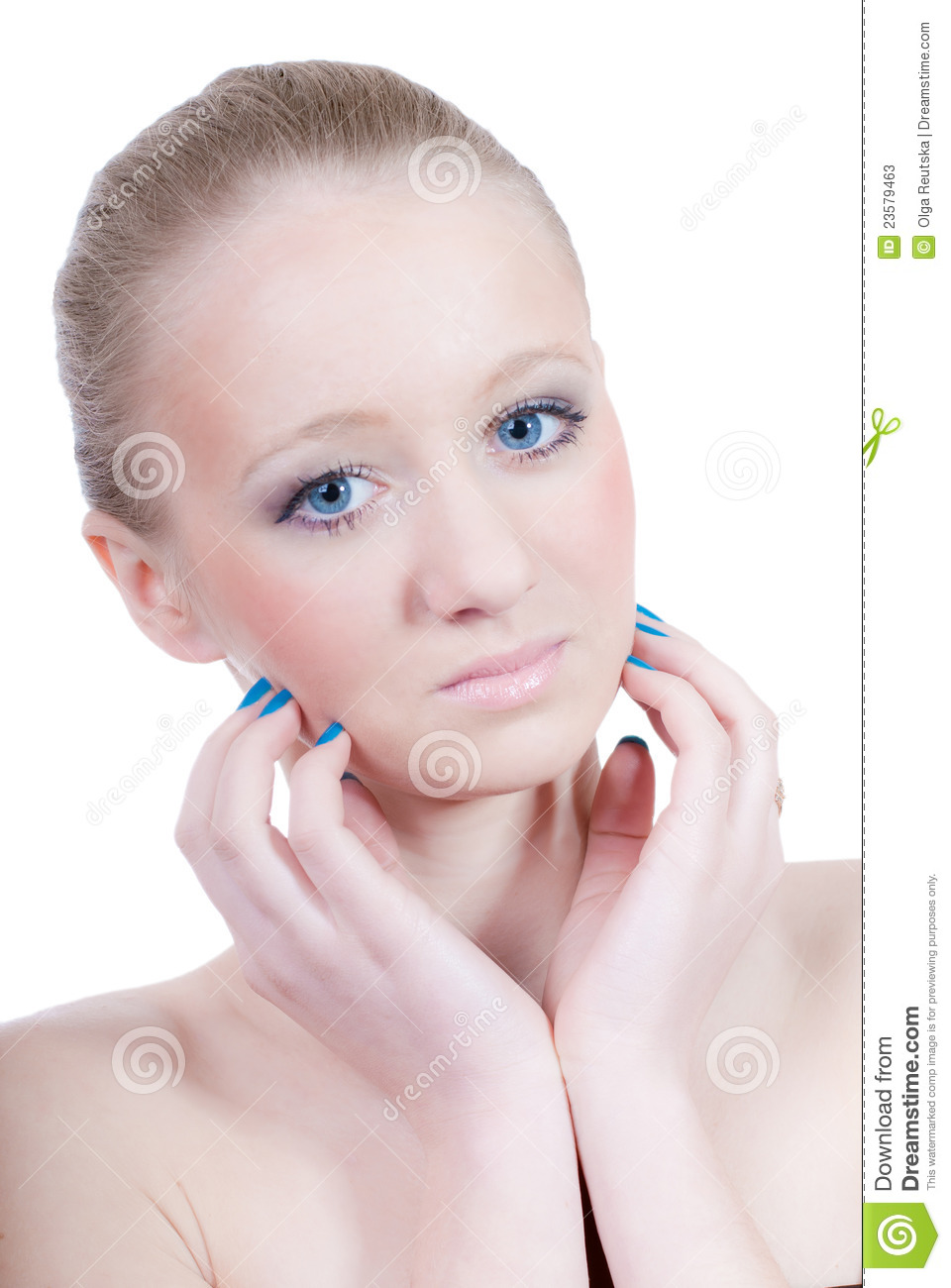 Beautiful blond young girl with blue eyes isolated