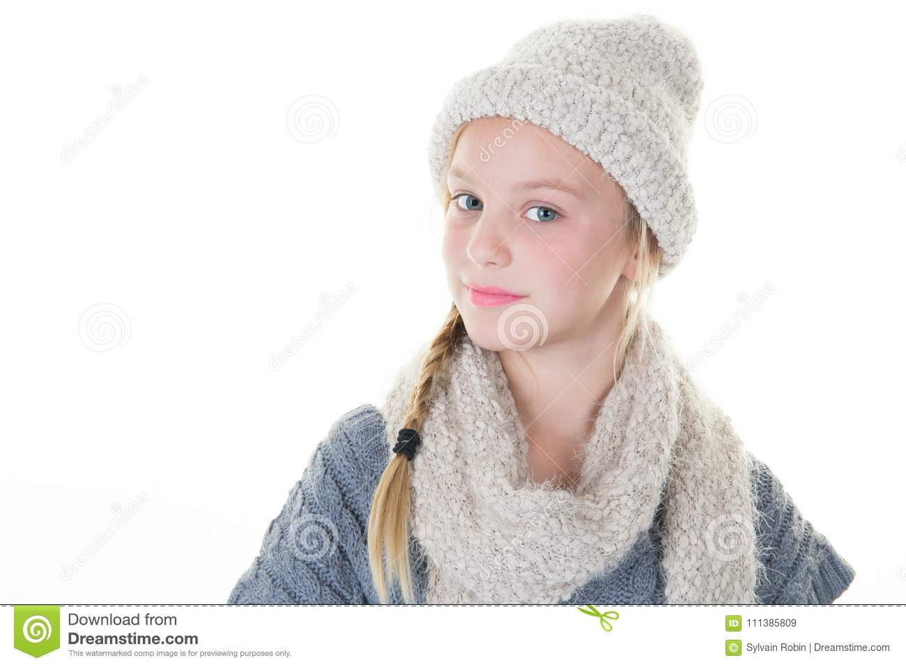 5dd733e6553e Blond Young Girl With Scarf And Wool Cap Stock Image - Image of ...