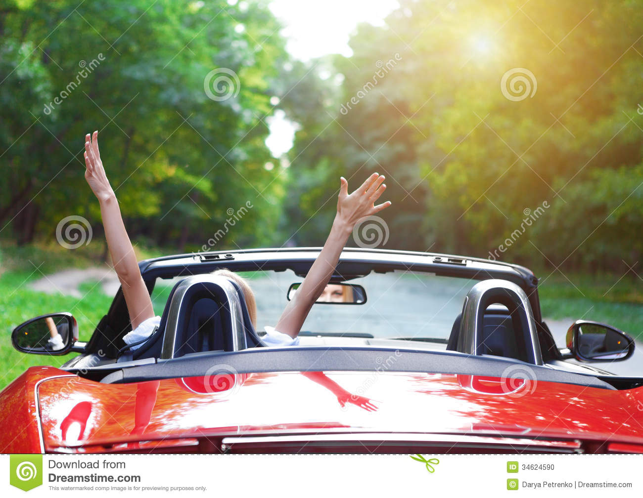 beautiful blond young woman driving a sports car stock