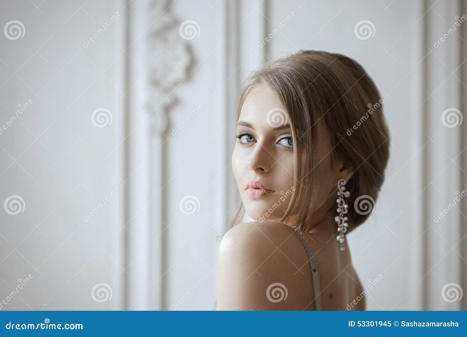 Beautiful Blonde Bride Portrait Wedding Makeup Stock Image - Image ...