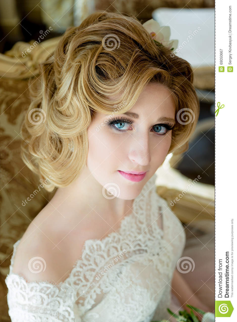 beautiful blonde bride portrait wedding makeup and hairstyle stock