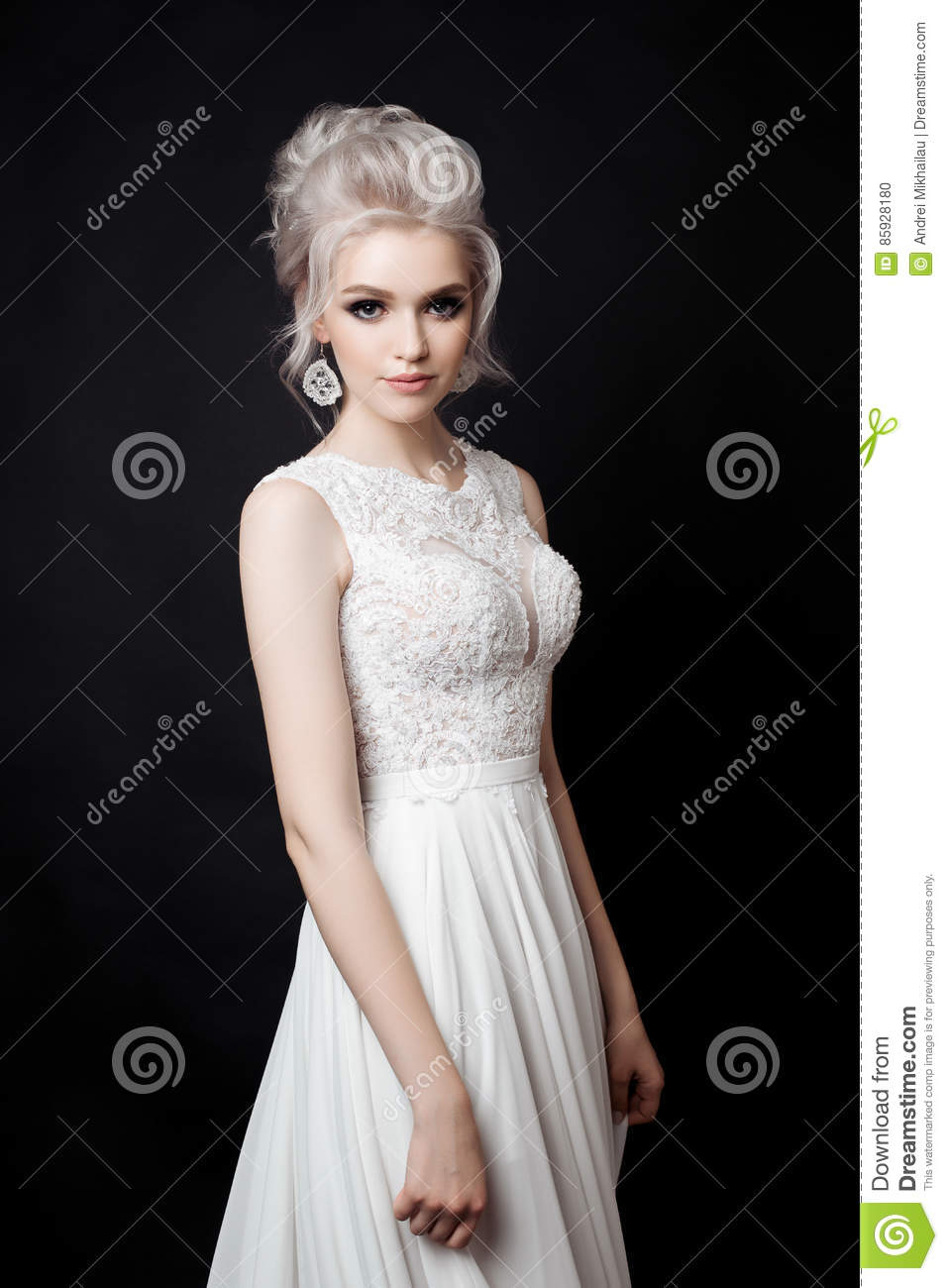 Lace Wedding Dress with Earrings