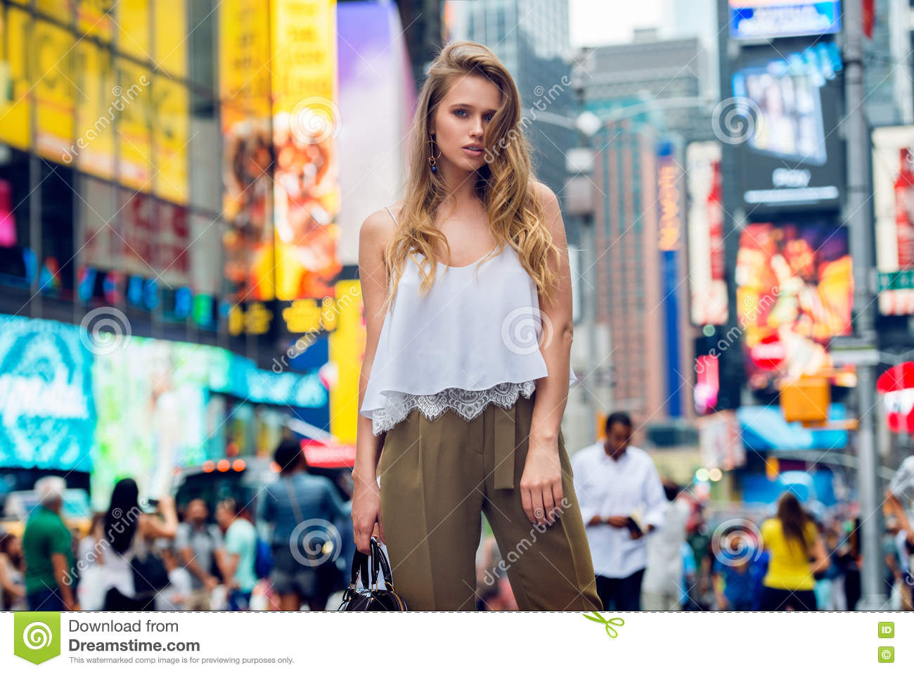 Beautiful Blonde Fashionable Model Girl Standing In New York