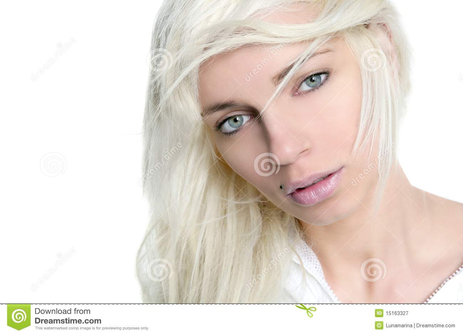 Beautiful blonde girl fashion wind long hair