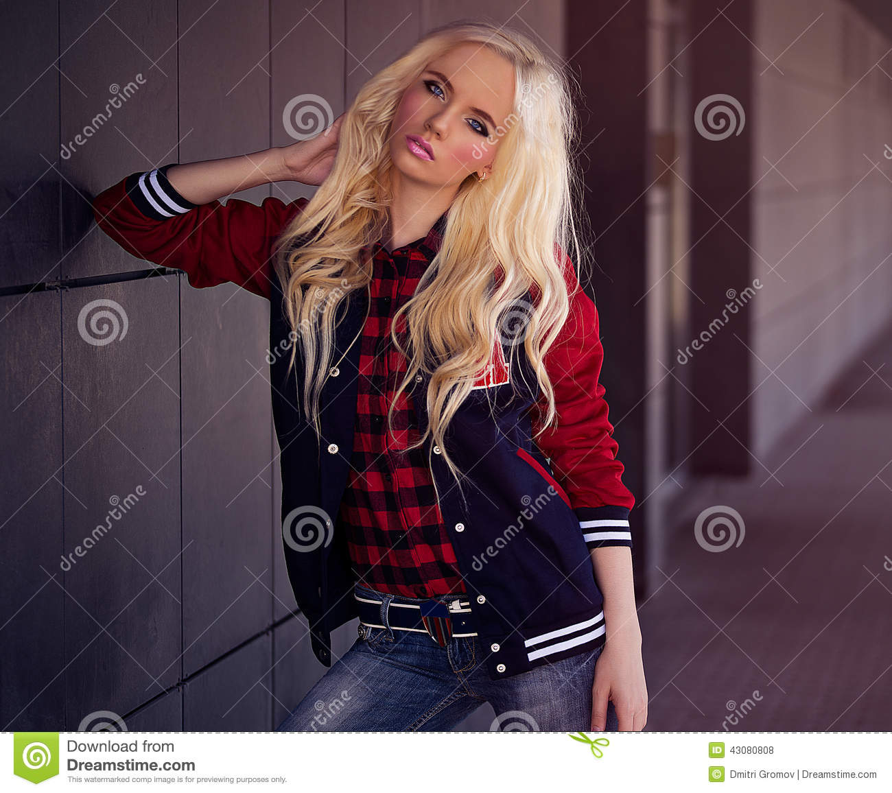 Beautiful Blonde Girl Outdoor Stock Photo
