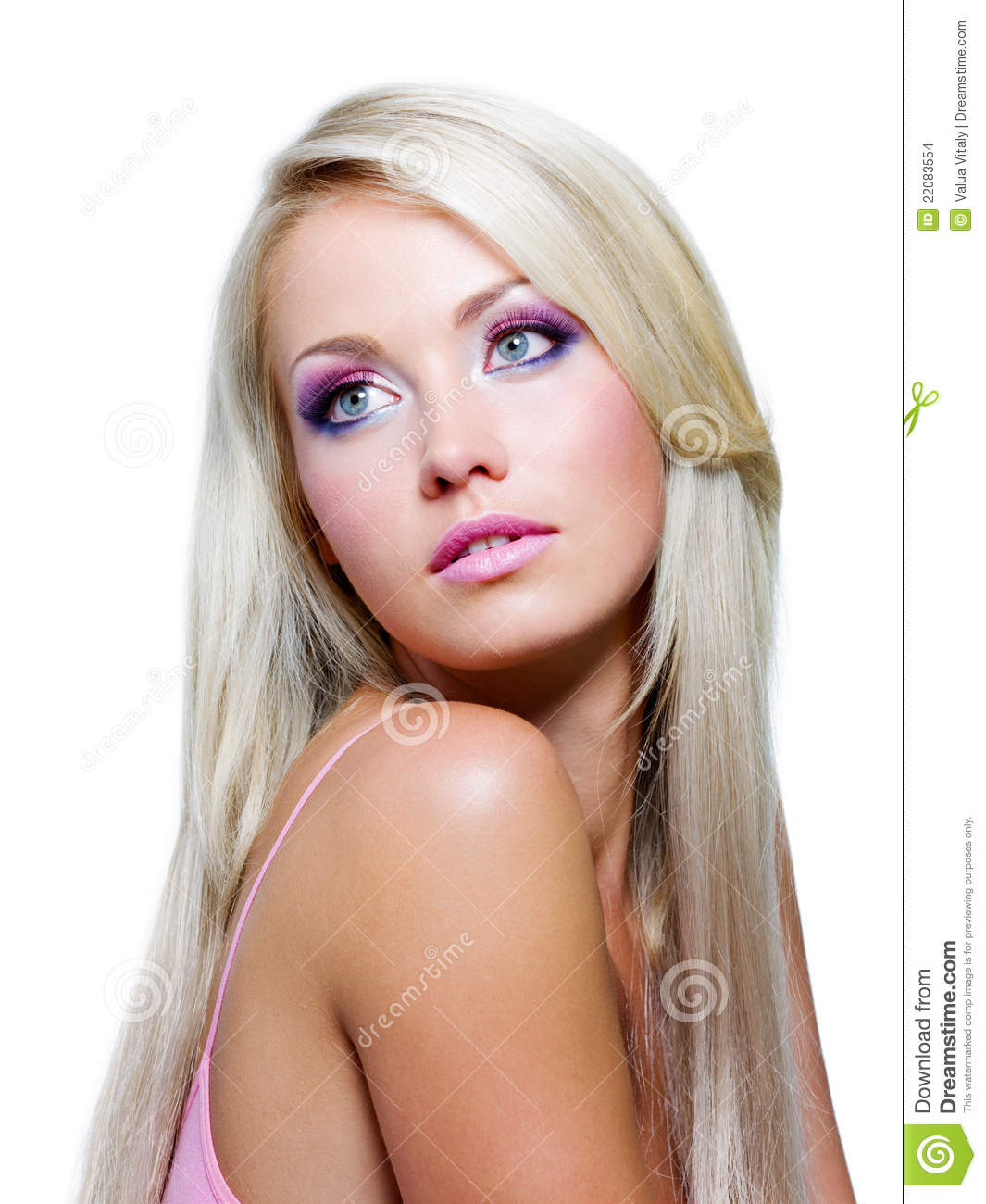 Beautiful blonde girl with straight long hair