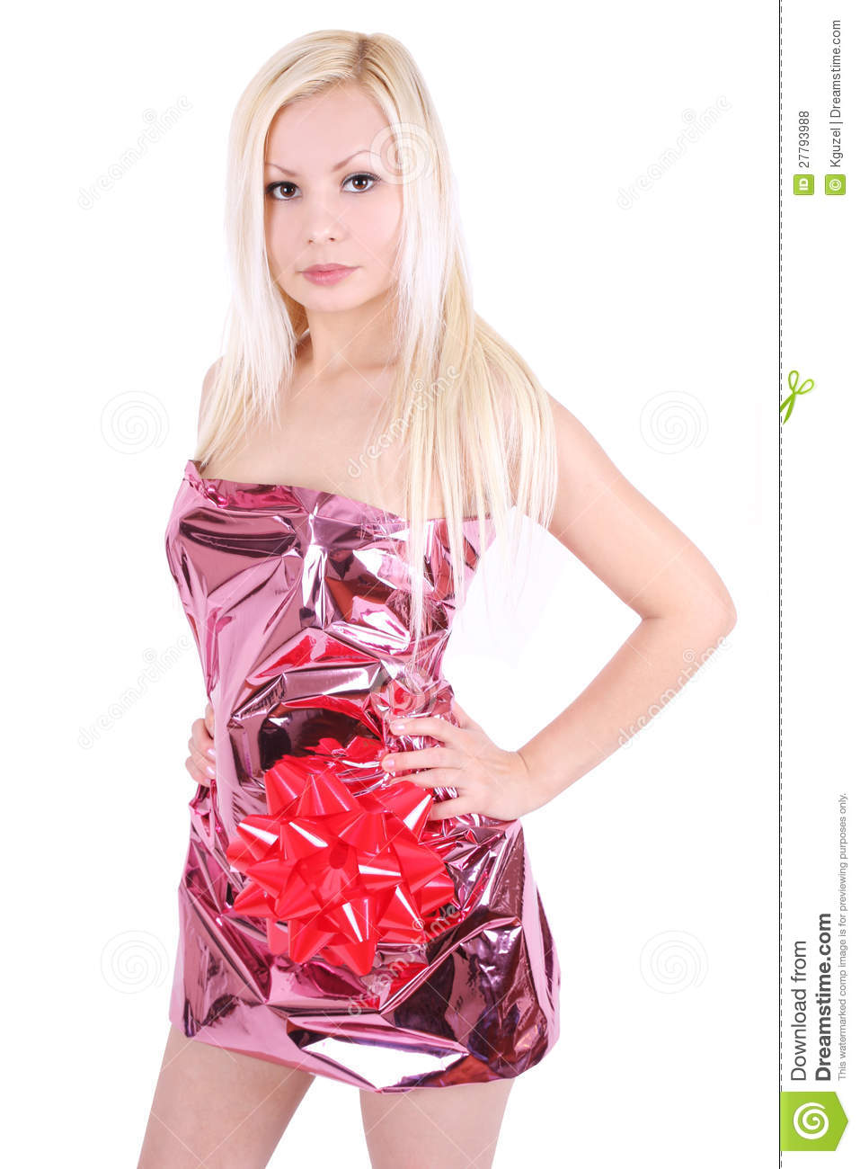 Beautiful Blonde Girl Wrapped Like A Present Stock Photo Image Of