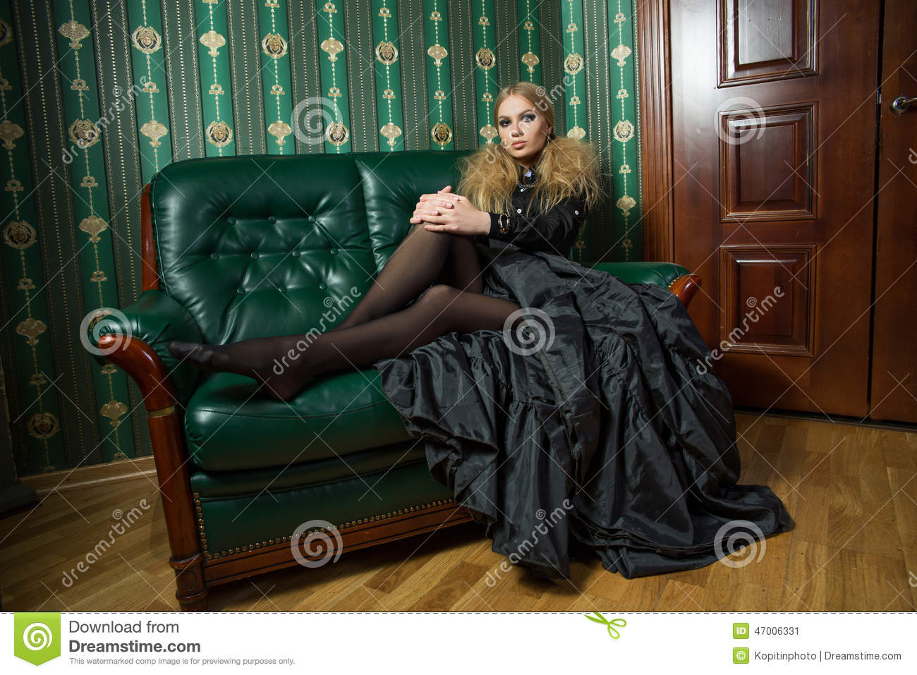 Beautiful Blonde In A Gothic Gown. Stock Image - Image of ...