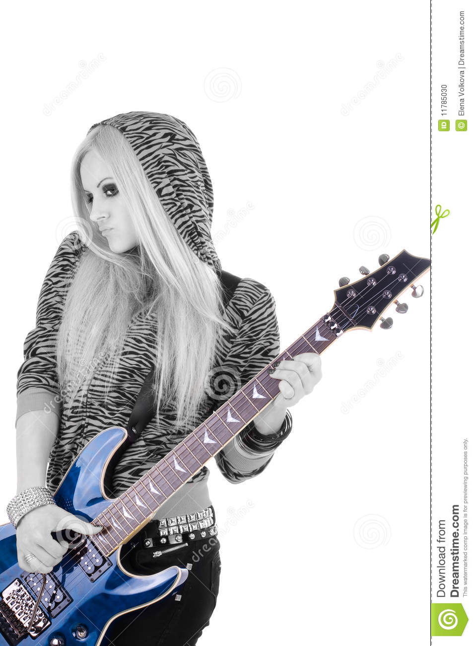 Beautiful blonde with a guitar